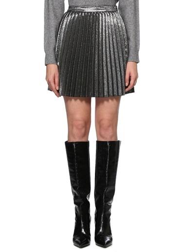 NetWork NetWork 1077398 Slim Fit Silver Pilili Kadın Mini Etek Gümüş